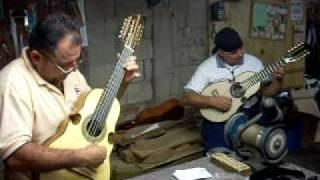 Wimbo y Orlando Laureano rascando cuatros jalda arriba en Morovis, Puerto Rico
