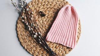 Шапка-тыковка спицами/Шапка резинкой 2 на 2/Простая шапка спицами/Видео-урок для начинающих