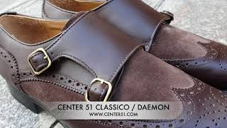 Video: Double Monk strap shoe Center 51 Classico Daemon bi-material brown leather and brown suede
