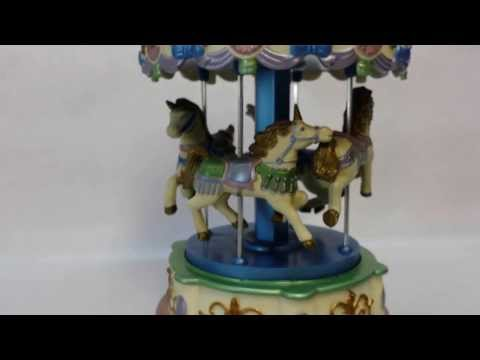 Christmas Unicorn Carousel Music Box Animated Lights