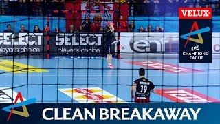 Floor sweeper almost becomes goalkeeper in Vardar v SG Flensburg-Handewitt.