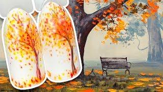 🍂 Простой Осенний Дизайн Ногтей с Листопадом 🍂 Осенний Маникюр с Рисунком Гель-лаком для Начинающих
