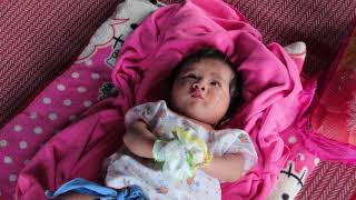 So Lovely Mony Reach Play With Cow Balloon, Cute Baby Video
