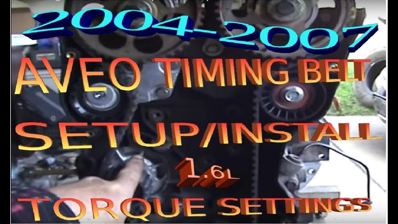2004 2007 aveo timing belt water pump replacement diy setup install tension wtorque [ 1280 x 720 Pixel ]