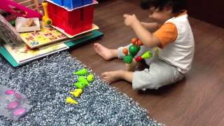 2 Year Old Moksh Plays With A Balancing Cactus Toy By Plan Toys