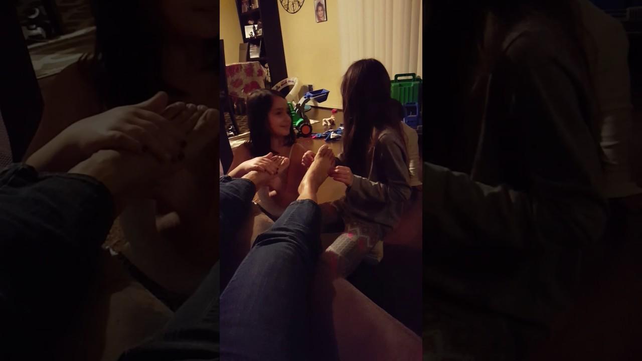 Girl rubbing girl