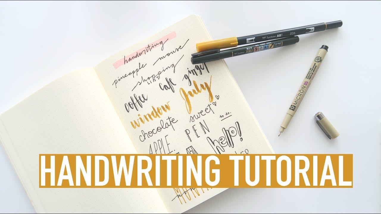bullet journal handwriting tutorial | brush lettering and cursive