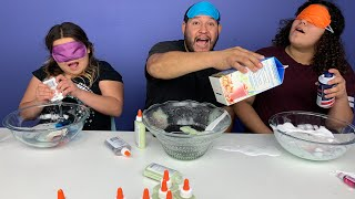 Dad CHEATED!!! Blindfolded Slime Challenge!