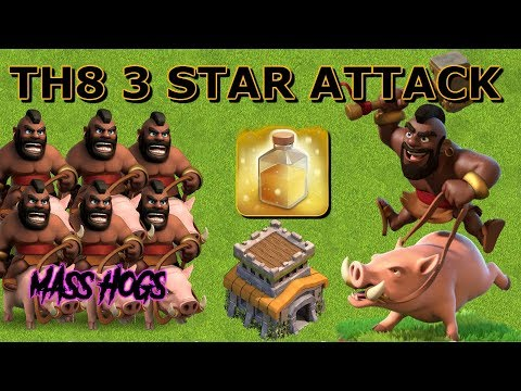TH8 3 STAR ATTACK STRATEGY - MASS HOGS