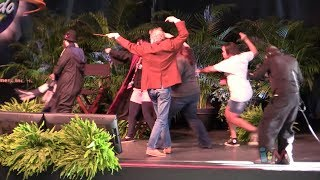 Harry Potter wand combat with choreographer Paul Harris, Mark Williams (Arthur Weasley) at Universal