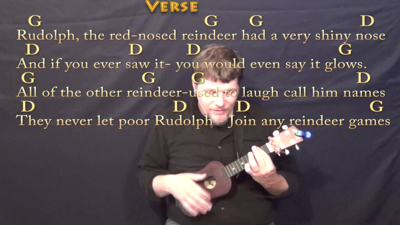 Rudolph the Red Nosed Reindeer Christmas Ukulele Cover Lesson in G with  Chords/Lyrics