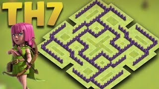 Clash of clans - Town Hall 7 (TH7) Trophy Base/Hybrid Base + Defense Replays 2016