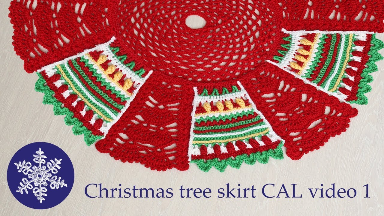 Christmas tree skirt crochet-along video 1 - YouTube