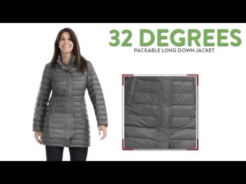 bae8f5929f1 32 Degrees Packable Long Down Jacket - 650 Fill Power, Hooded (For ...