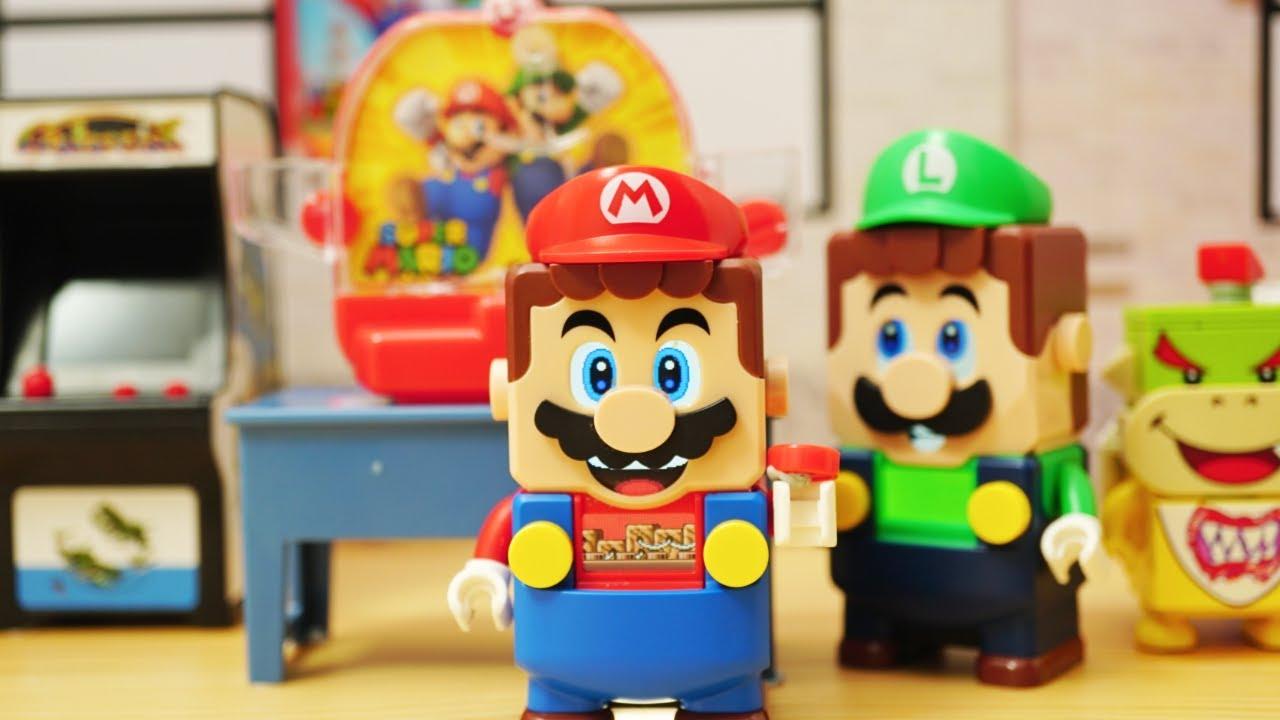Lego mario stop motion anime「jump & seesaw game !」レゴルイージのジャンプ&シーソーゲームセンター /surprise toy