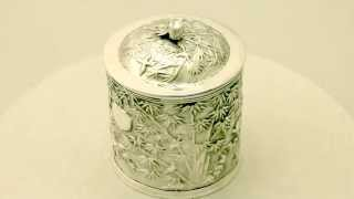 Chinese Export Silver Tea Caddy - Antique Circa 1890 - Ac Silver (a2507)