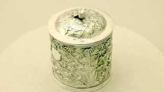 Chinese Export Silver Tea Caddy - Antique Circa 1890 - Ac Silver (a2507)