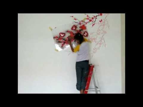 How to diy wall stencil cherry blossom painting youtube for Cherry blossom wall mural stencil