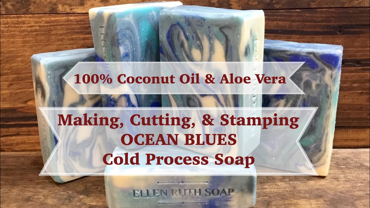 Making Cutting Stamping Ocean Blues 100 Coconut Oil Aloe Vera Juice Cold Process Soap Youtube