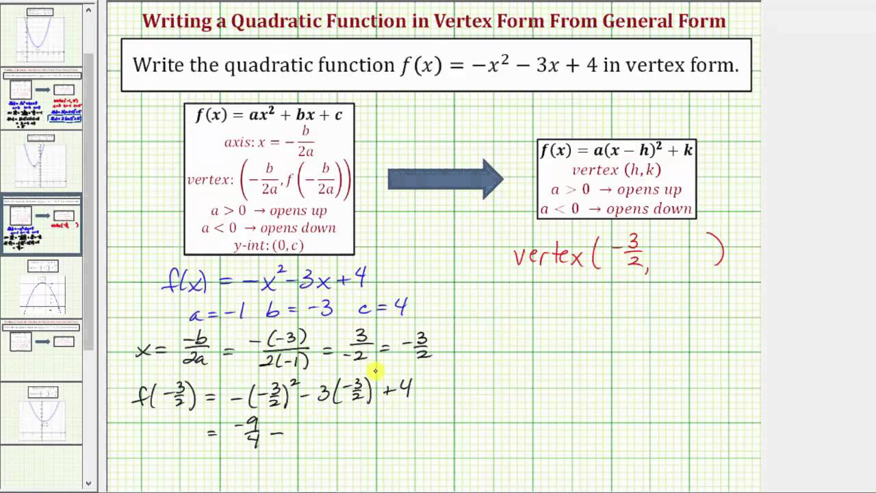 Ex Write A Given Quadratic Function In Vertex Form A Not 1 With