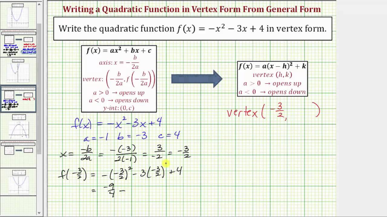 Ex write a given quadratic function in vertex form a not 1 with ex write a given quadratic function in vertex form a not 1 with fractions falaconquin