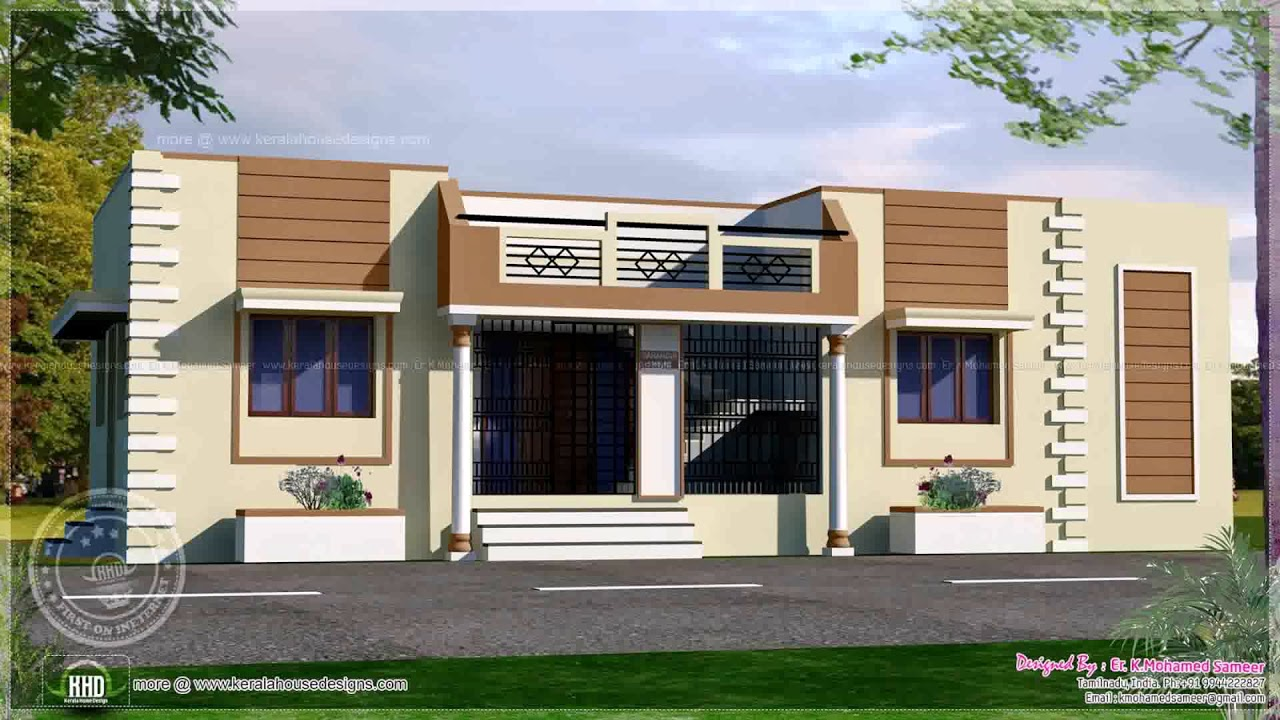 Kerala style single floor house plans elevations youtube for Up and down house design in the philippines