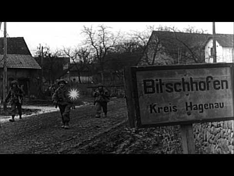 U.S. Infantry in Bitschhofen, Germany, during World War II HD Stock Footage
