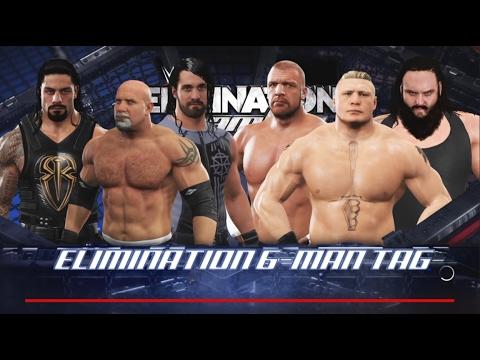 WWE 2K17-Goldberg & Roman Reigns & Seth Rollins vs Triple H & Brock Lesnar & Braun Strowman