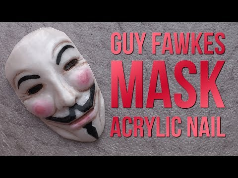 Guy Fawkes Acrylic Nail - Tiny Mask Design - Gun Powder Plot - V for Vendetta - Anonymous Mask