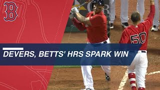 Rafael Devers and Mookie Betts homer to walk-off Twins