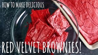 Red Velvet Brownies! (easy 4 Ingredient Recipe)