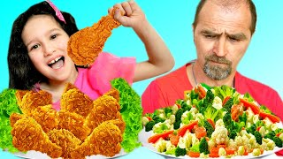 Alice and Dad Pretend Play Eat and Cook Healthy Food and Fried Chicken