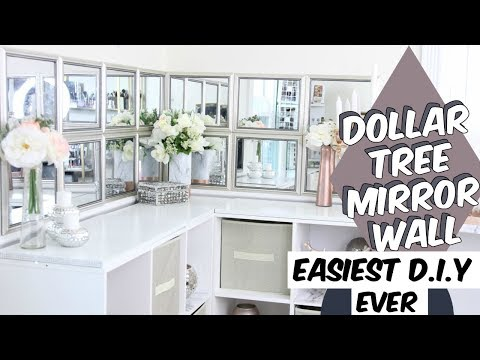 DOLLAR TREE EASIEST DIY EVER MIRRORED WALL