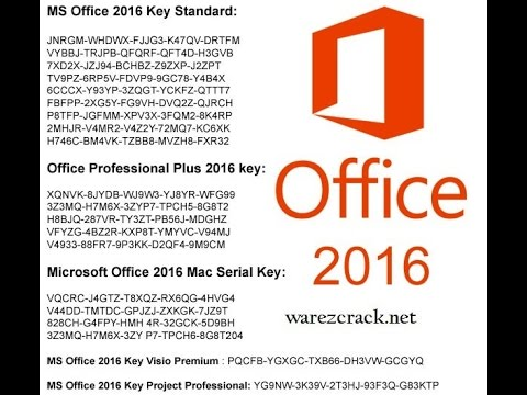 ms office 2016 product key list