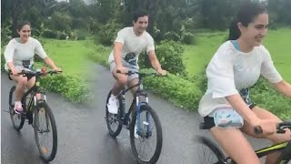 BEAUTIFUL Sara Ali Khan CYCLING In Rains With Brother Ibrahim