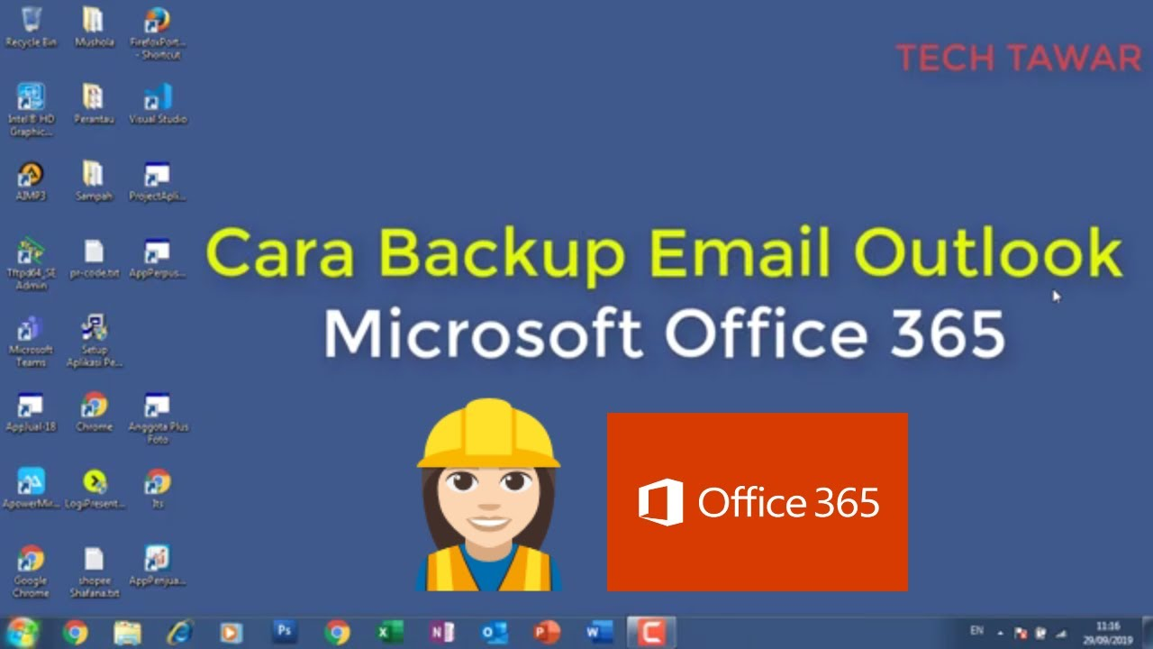 Cara Backup Offline Email Outlook Office 365 - YouTube