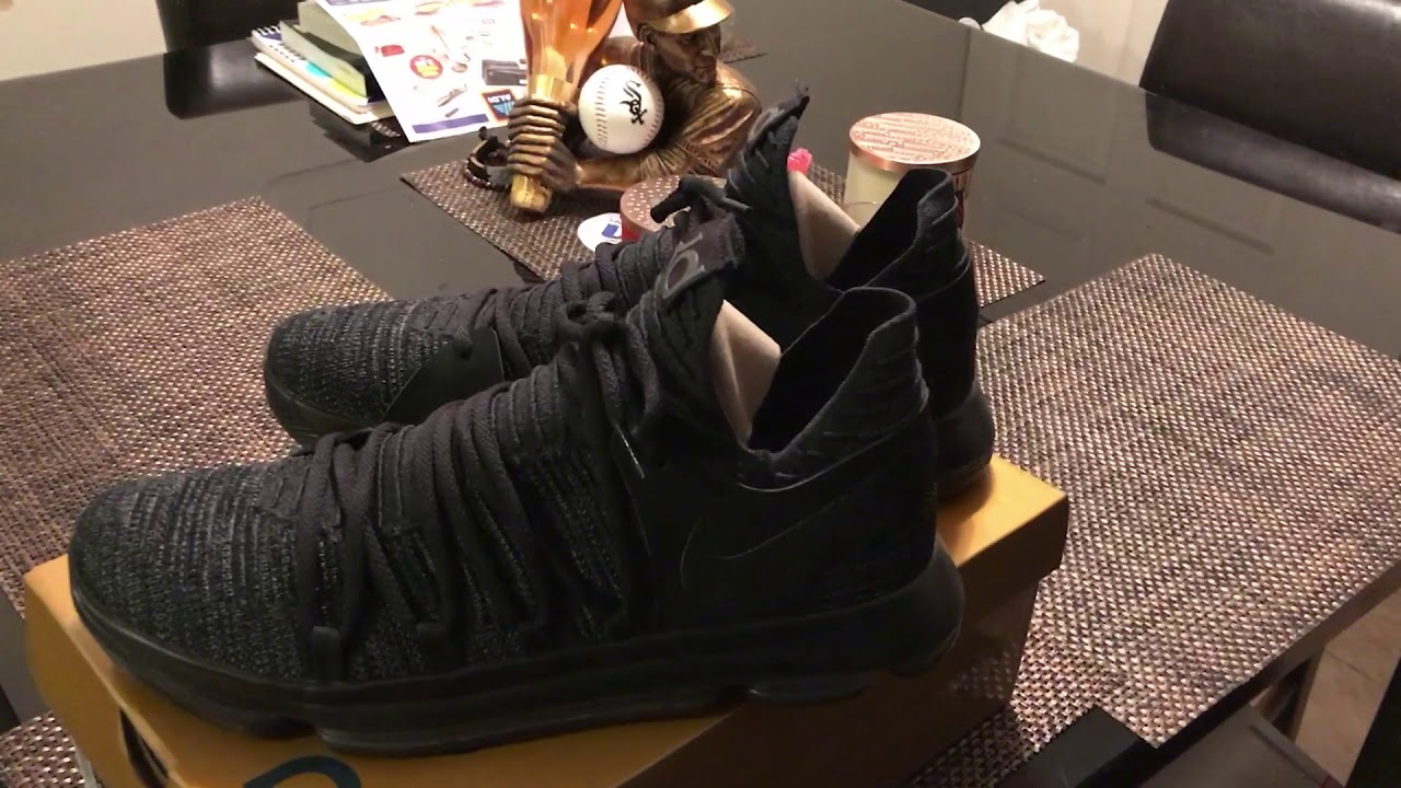 the latest 7d6eb eeee3 Nike KD 10 Triple Black Basketball Shoe Review KD X