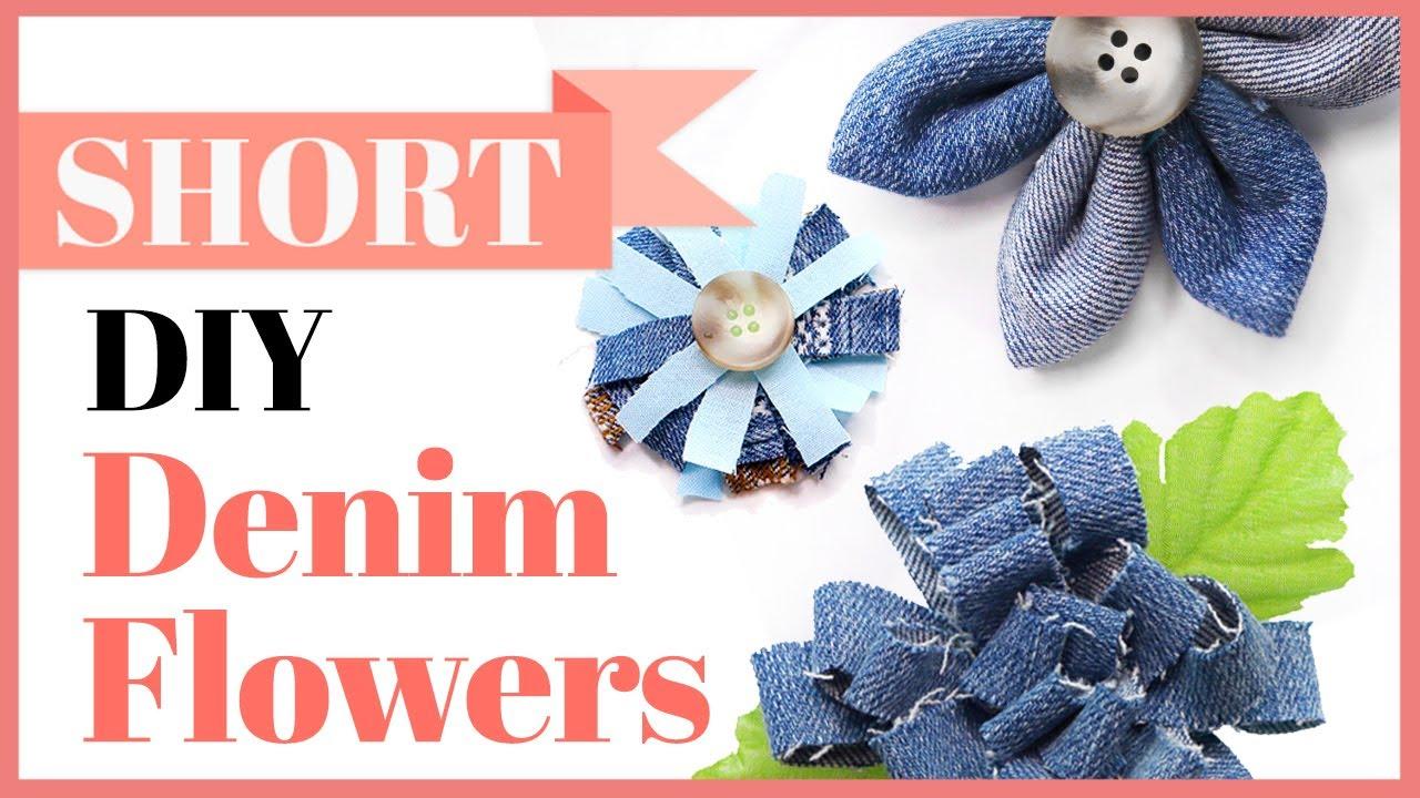 Denim Flowers 3 Ways | What to do with Denim Scraps #Shorts