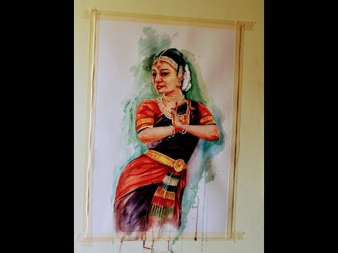 Indian classical dancer water color painting portrait