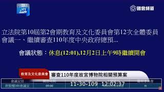 【現場直播】故宮降級與預算爭議 院長吳密察出席立院備詢|2020.11.30
