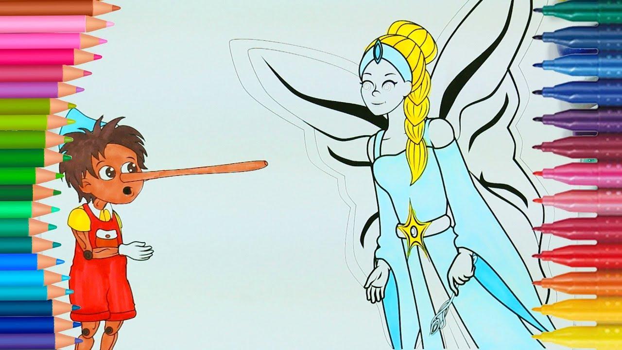 Pinokyo Boyama Sayfası Ile Renkleri öğreniyorum çocuklar Için