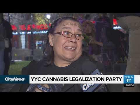 Calgarians celebrate cannabis legalization in downtown
