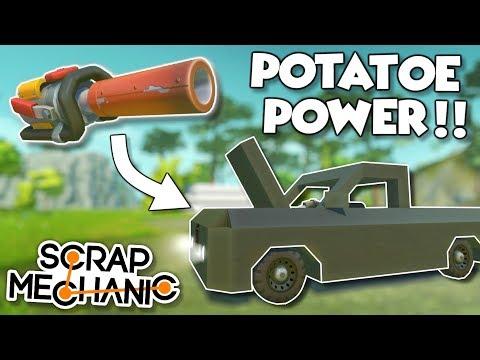 "SPUD GUN POWERED ""HOVERCRAFT"" and TRUCK! - Scrap Mechanic Spud Gun Update Gameplay"