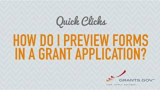 Quick Clicks: How to Preview Grant Application Forms on Grants.gov