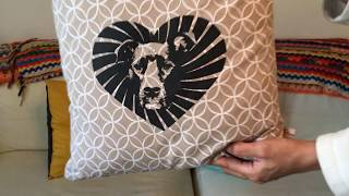 Custom Throw Pillows Using Photo Of Our Pit Bull