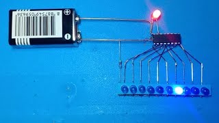 10 step LEDs charser using ic 4017 only without PCB board