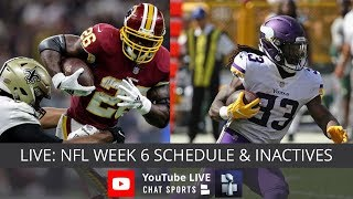 NFL Week 6 Live Streaming Of Injury Info For NFL Games Today, NFL Schedule & NFL Inactives