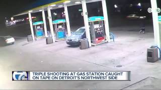 Triple shooting caught on camera in northwest Detroit