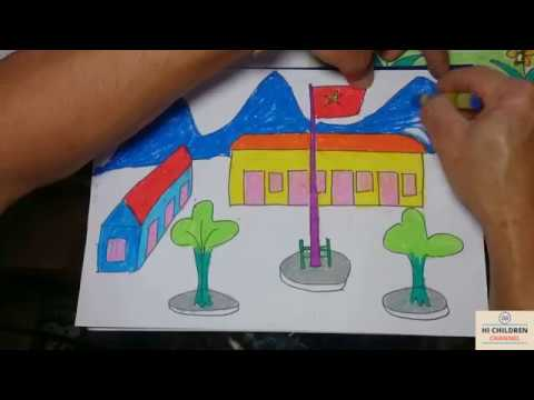 Hi Children Channel || Bé Học Vẽ Ngôi Trường.