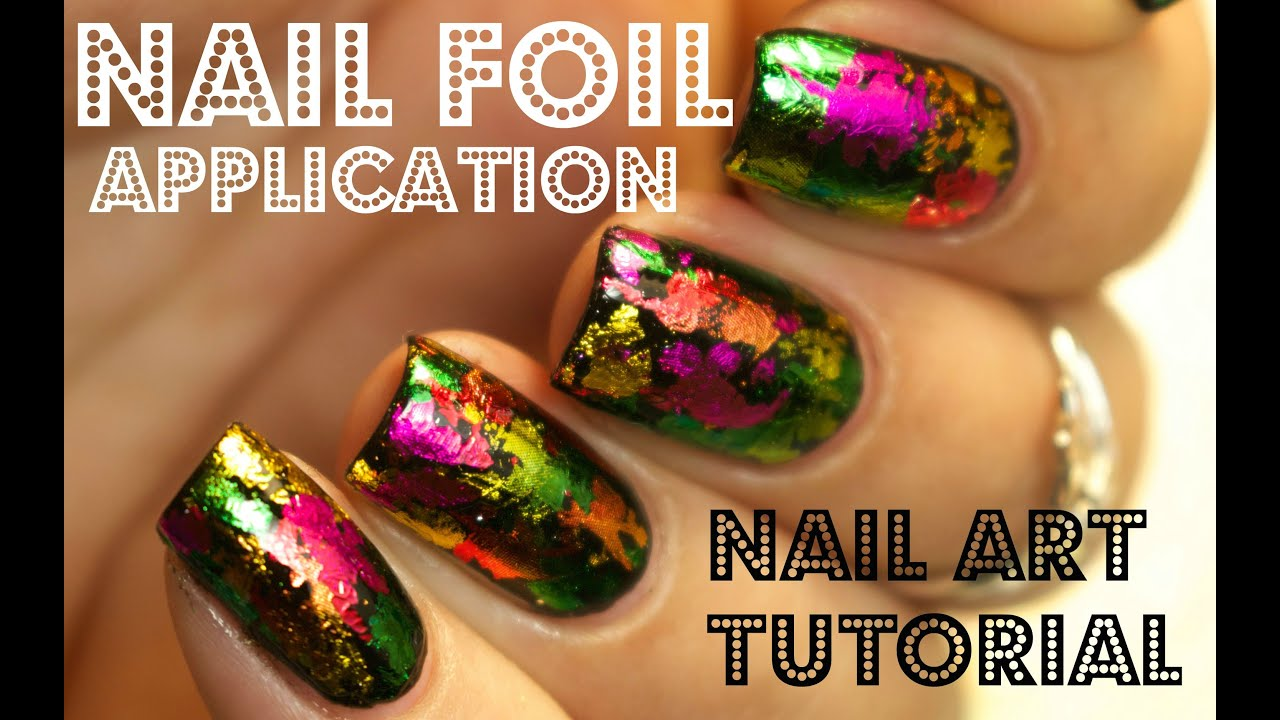 Nail Foil Application Tutorial using Glue - YouTube